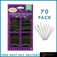 70 x Assorted Hand Sewing Needles - ASSORTED SIZES - EASY THREAD - Big Eye Sets