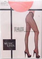 New Music Legs Seamless Fishnet Pantyhose Orange One Size Stockings