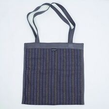 Nienkamper Tote Bag Purse Textile Purple Dotted Stripe Faux Leather Straps