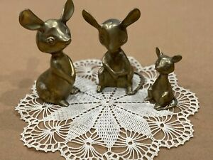 Vintage Cast Brass/bronze Set of Mice hand-made in India Heavy Unique
