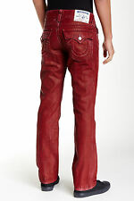 NWT TRUE RELIGION JEANS $268 RED STRAIGHT FLAP MENS JEANS IN COALWOOD SZ 33