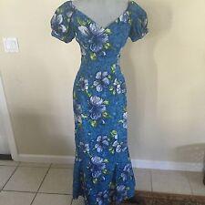 Vintage 50's PARADISE HAWAII Womens XS Blue Floral Long Mermaid Hawaiian Dress