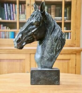 Large antique bronze effect horse head statue / sculpture