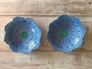 PERSIAN Set Of 2 Hand Painted Enamel Metal Bowl Wall Hanging Blue Minakari