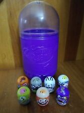 Lot of 7 Assorted Mighty Beanz Moose Toys w Purple Container Case