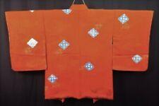 Vintage Japanese Ladies' Rust Orange 'Shibori Diamond' Kimono Haori Jacket 12-14