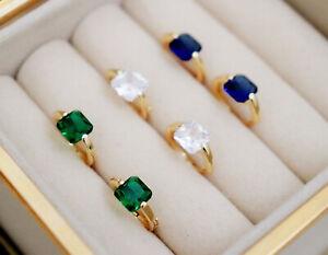 Sterling Silver Emerald Crystal Blue CZ Elegant Small Huggie Hoops Gold Earrings