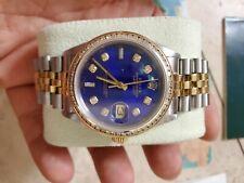 Mens Rolex Datejust 18k Gold Blue Dial Diamond 1.4ct Bazel