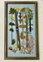 Vintage Large Framed Forest Woodland Nursery Mid Century Crewel Yarn Fabric Art
