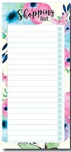 Floral Butterfly Magnetic Shopping List Pad Tear Off Note Pad 80 Sheets 80gsm