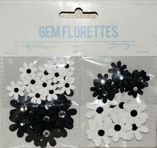 50 Paper Flower Rhinestone Gem Florettes Embelishment Jewel Card Making Applique