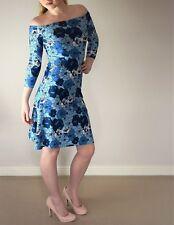 Women's dress bodycon fit flare stretch evening bardot UK size 16 print new
