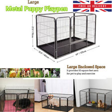 4Pcs Pet Playpen Dog Rabbit Puppy Play Pen Cage Folding Run Metal Fence Guinea