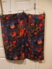"""VINTAGE 60""""S ABSTRACT BLACK MULTI LARGE SQUARE Scarf /TABLE SQUARE  34 X 35"""
