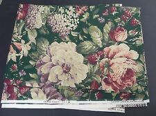 5th AVENUE DESIGNS floral roses green violet fabric 4 yards dated 1991
