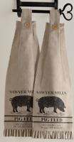SAWYER MILL CHARCOAL PIG Kitchen Dish Towel Set of 2 Farmhouse Stencil VHC