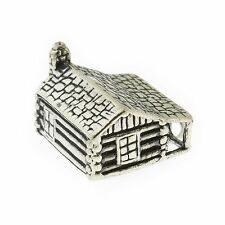 925 Sterling Silver Log Cabin Charm Made in USA