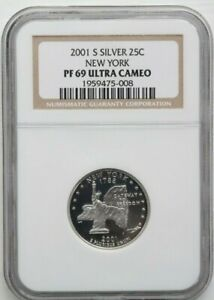 2001 S Silver Quarter (25C), New York State, NGC PF69 Ultra Cameo Graded