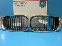 Set Left & Right Front Hood Grills Replace BMW OEM# 51137042961/2 Chrome Black