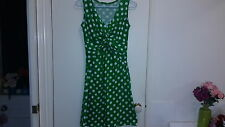 NEW Twist-front Green Polka dot knit dress, size 8-10