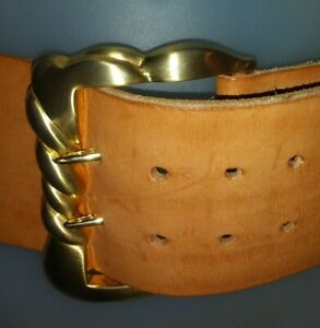 """Vintage Kieselstein Cord leather Belt with gold tone buckle 27""""-30"""" double prong"""