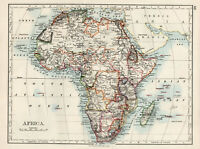 Antique Map Of Africa Colonial British East Central South Johnston 1892