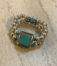 SILPADA R1197 STRETCH TURQUOISE AND 925 SILVER BEAD RING