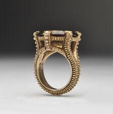 Stephen Dweck Gold Gilt Sterling silver Smokey Quartz Ring - Size 7
