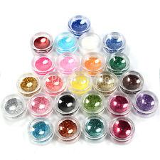 Nail Art Glitter Powder 24 Mix Color Dust Set UV Gel for Acrylic Decoration Tips