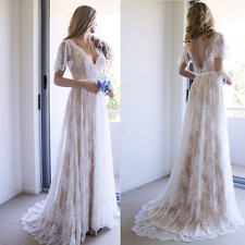 Bohemian Beach Wedding Dress Lace Short Sleeve A Line Bridal Gown Custom 4 6 8 +