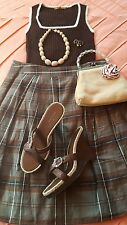 Fabulous Outfit Banana Republic Skirt 6 Top M Sandals 8.5 Purse Necklace & Rings