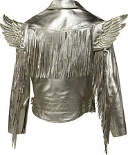 NWT~Adidas JEREMY SCOTT GOLD WINGS Fringes coat LEATHER Biker Jacket Top~Size XS