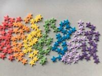 150 x Edible Sugarpaste  Small stars - cake topper Rainbow Colours