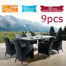 Wicker Outdoor Furniture Setting Dining Table & Chairs Rattan Set 9PCS