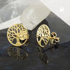 375 dorado pendientes aretes conector 10mm árbol de la vida filigrana 9kt oro