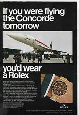 1968 Rolex GMT Chronometer Watch If You Were Flying Concorde SST Color Print Ad