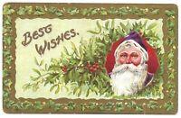 Embossed Purple Santa Postcard Best Wishes Holly Printed Germany Divided
