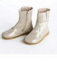 new girls PePe Star Gold Short Boots made in Italy leather 22 6 6.5 shoes