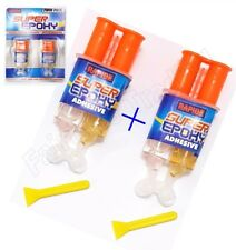 Twin Pack Super Epoxy Resin Fast Set Precision Syringe Adhesive Glue Metal Glass