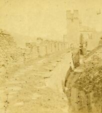 Germany surrounding Wall of Oberwesel Old Stereoview Photo Braun 1860