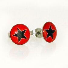 Edelstahl Ohrstecker Ohrringe Sterne rot schwarz 10 mm rund Damen Herren