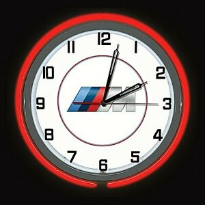 "19"" BMW M Series Sign Red Neon Clock Carbon Fiber Like Case Bavarian Motor Works"