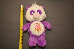 "RARE VHTF 13"" TALKING POLITE PANDA Purple & White w/Rose Care Bear Plush Retired"