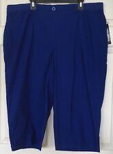 NWT Kim Rogers Woman Comfort Capris Easy Fit Knit Elastic Waist Blue Pull On 2X
