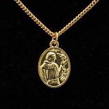 """18""""-24"""" Silver Gold Plated Mens Womens St Francis Pendant Unisex Necklace Chain"""
