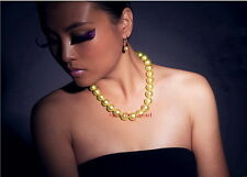"""AAAAA 18""""11-12mm REAL natural round south sea golden pearl necklace 14k Gold"""