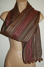New Woven Cotton & Silver Lurex Scarf - Hippy Fairly Traded Ethnic Boho