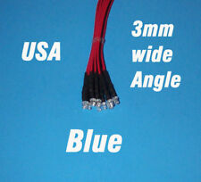 10 x LED - 3mm PRE WIRED 12 VOLT WIDE VIEW ANGLE BLUE 12V PREWIRED FLAT