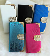 Bling Snake Pattern Leather Flip Wallet Case + Card Holder for Apple iPhone 5 5s