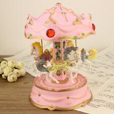 Led Light Luminous Rotating Luxury Rotating Carousel Horse Music Box For Gift
